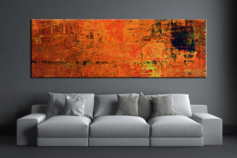 Living Room Wall Art,1 Piece Wall Art, Orange Abstract Multi Panel Art,