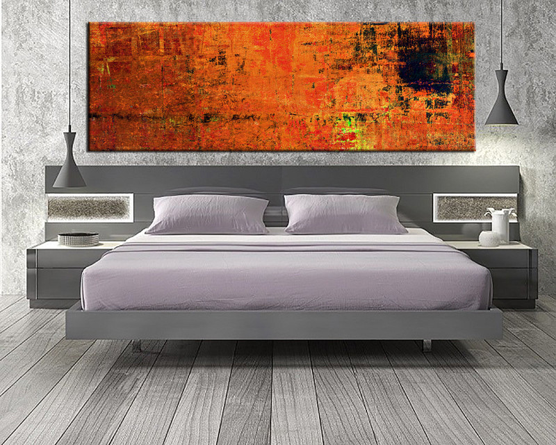 1 piece orange wall art abstract canvas print for Large bedroom paintings