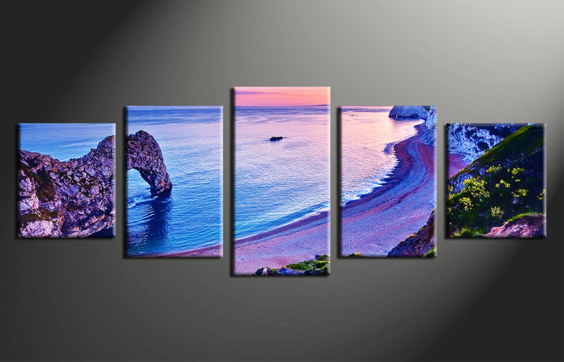 5 Piece Blue Canvas Wall Art Ocean Artwork