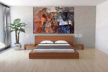 1 piece canvas art print, bedroom art, brown abstract multi panel art, abstract huge pictures