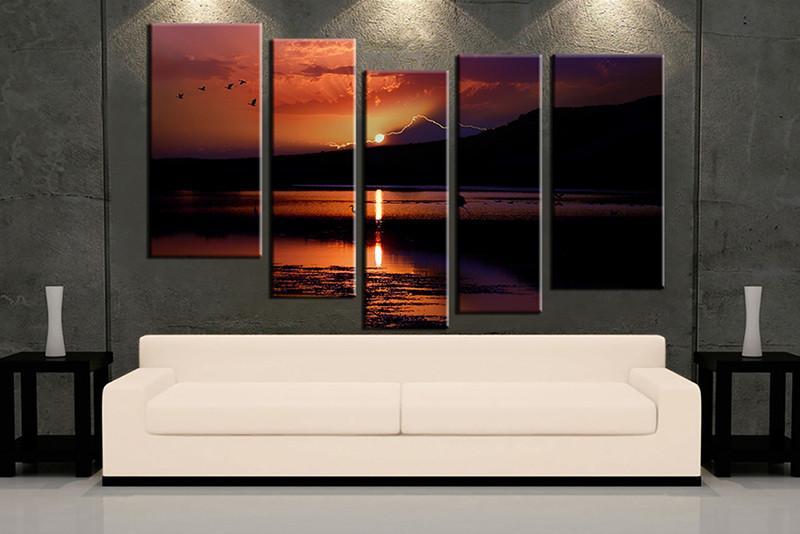 5 Piece Wall Art, Orange Ocean Multi Panel Art, Ocean Artwork, Mountain Huge Part 79
