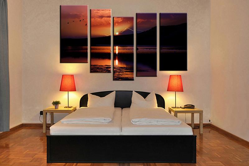 5 piece canvas wall art bedroom ocean artwork sunrise pictures nature canvas print - Canvas Wall Decor