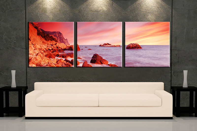 3 piece wall art red ocean multi panel art ocean artwork ocean huge & 3 Piece Ocean Mountain Red Huge Canvas Art