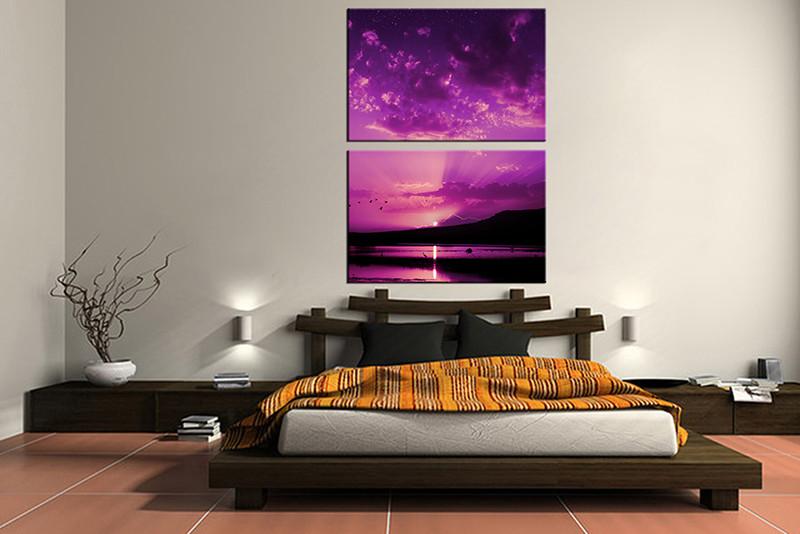 2 Piece Sunrise Ocean Purple Canvas Photography
