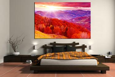 1 piece canvas print, bedroom canvas photography, landscape red pictures, landscape canvas art print, landscape wall art
