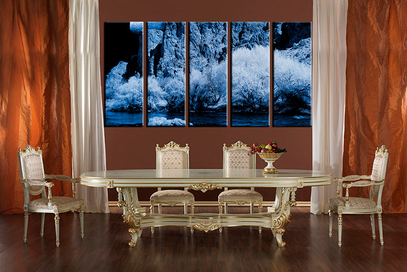 5 piece landscape large pictures blue canvas wall art for Canvas dining room