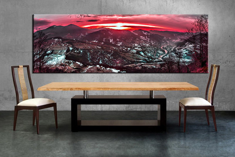 1 Piece Multi Panel Canvas, Dining Room Canvas Photography, Red Landscape Wall  Art,