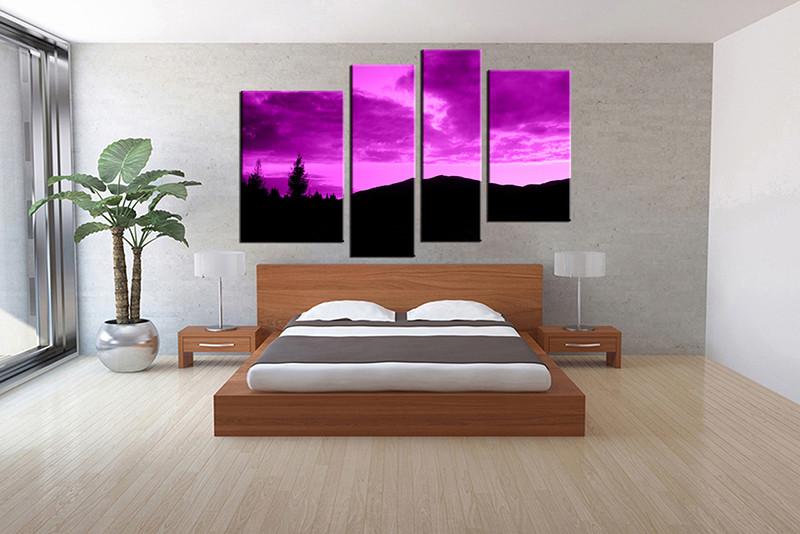 4 Piece Purple Large Canvas Landscape Multi Panel Art