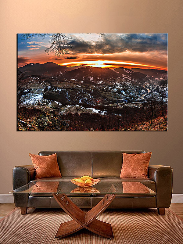 1 piece art landscape orange large canvas for Buy large canvas prints