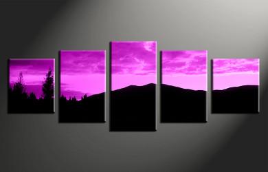 home decor, 5 piece canvas print,  purple landscape wall art, landscape canvas photography, landscape huge pictures