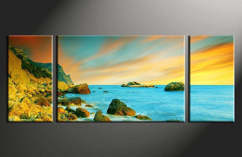 3 Piece Yellow Ocean Photo Canvas Wall Decor