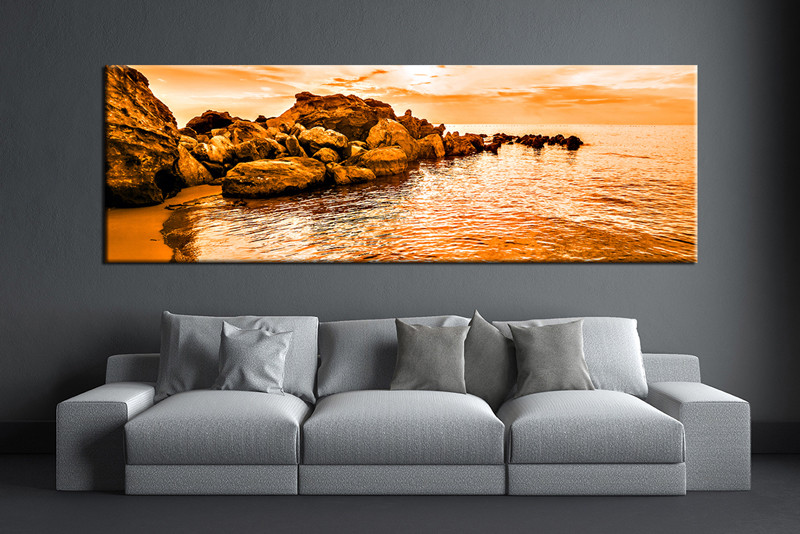 1 Piece Orange Canvas Art Ocean Huge Canvas Artwork