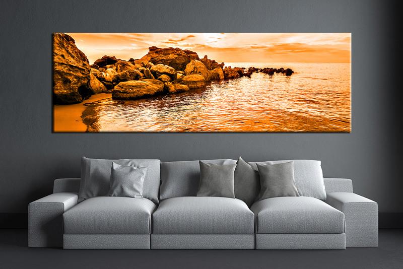 Bon 1 Piece Canvas Wall Art, Living Room Huge Canvas Print, Orange Ocean Photo  Canvas