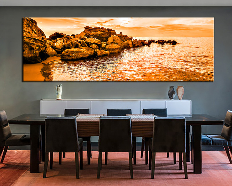Superb 1 Piece Canvas Wall Art, Ocean Canvas Print, Orange Ocean Art, Dining Room