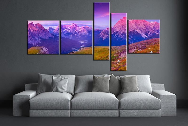 5 piece artwork blue landscape large pictures - Landscape paintings for living room ...