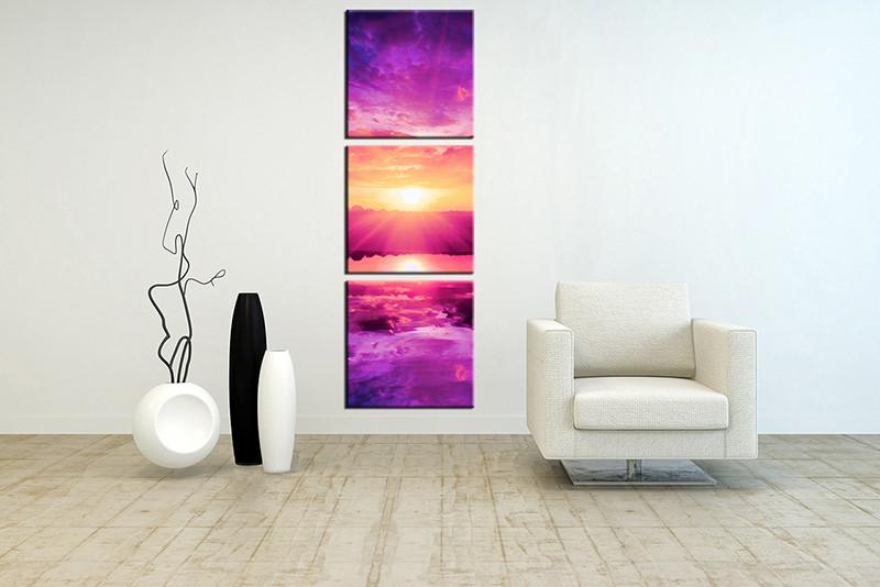 Good 3 Piece Wall Art, Living Room Art, Purple Ocean Multi Panel Art, Ocean