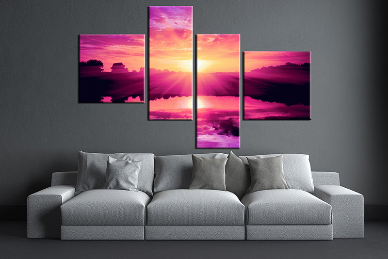 piece purple canvas ocean wall art
