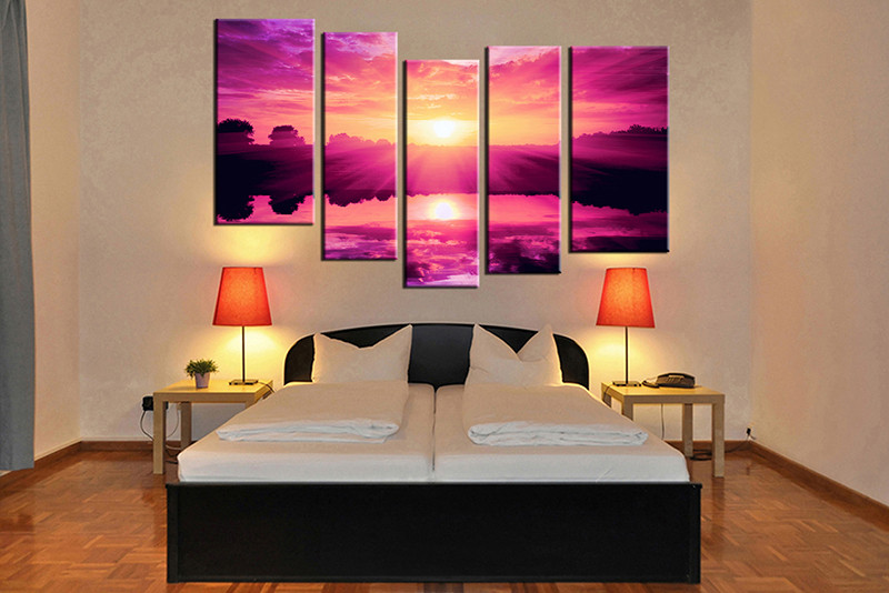 bedroom decor, 5 piece canvas wall art, ocean multi panel canvas, ocean  canvas