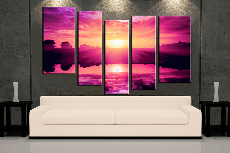 5 Piece Purple Canvas Ocean Wall Art