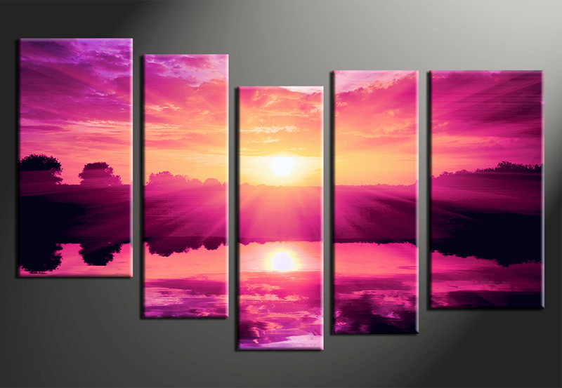 Purple Canvas Wall Art 5 piece purple canvas ocean wall art