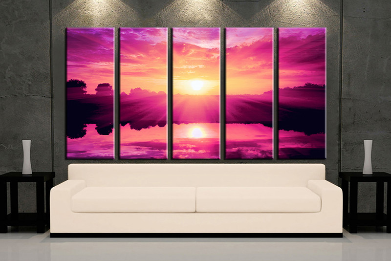 5 Piece Purple Canvas Print Ocean Wall Art