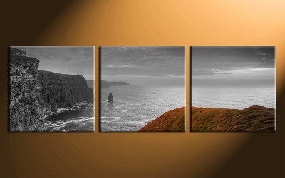3 piece canvas print, home decor artwork, grey ocean photo canvas, ocean canvas photography