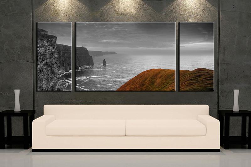 3 Piece Wall Art, Living Room Art, Grey Ocean Multi Panel Art, Ocean