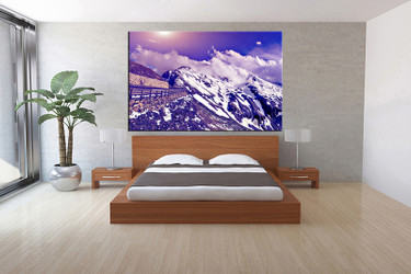 1 piece canvas art print, bedroom art, blue landscape art, landscape huge pictures, landscape artwork