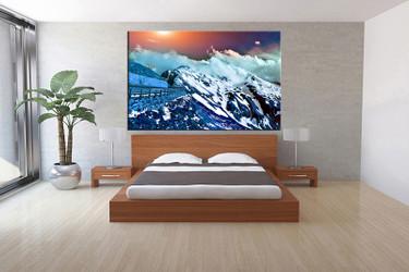 bedroom decor,1 piece canvas wall art, blue landscape multi panel canvas, landscape canvas prints, landscape canvas photography