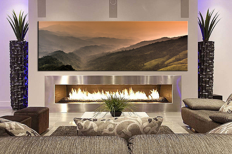 Living Room Art 1 Piece Canvas Wall Landscape Decor Orange Artwork