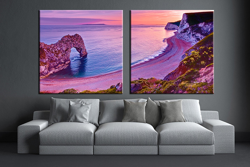 2 Piece Purple Art Ocean Large Pictures