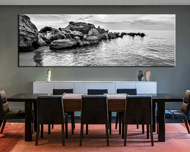 Superior 1 Piece Large Canvas Dining Room Artwork Black And White Wall Art