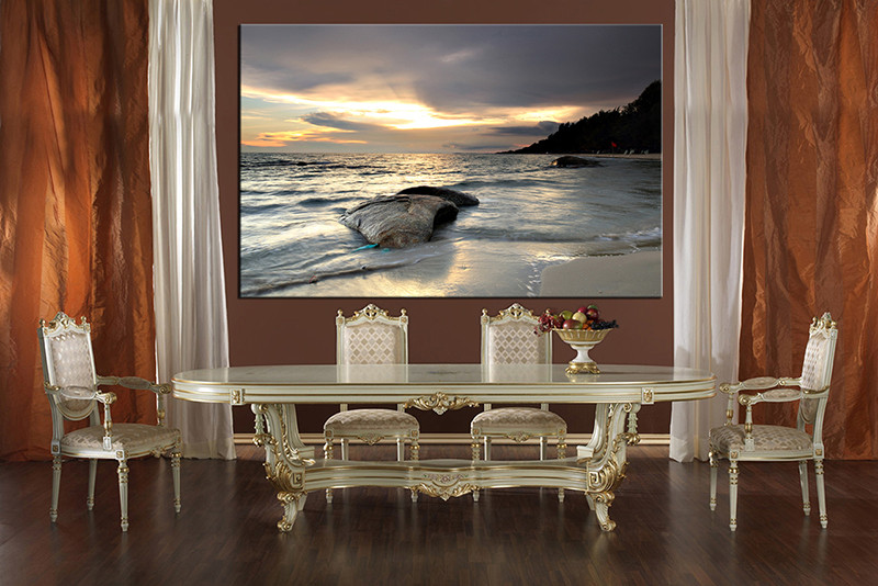 1 Piece Multi Panel Art, Dining Room Canvas Photography, Ocean Wall Art,  Ocean