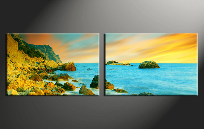 2 Piece Yellow Huge Pictures Canvas Ocean Wall Art
