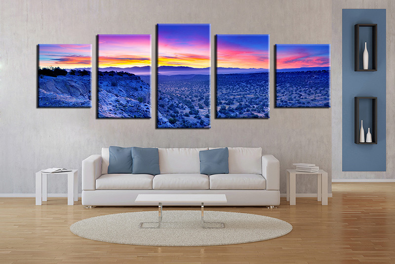 Panoramic Wall Art 5 piece canvas blue canvas photography landscape art
