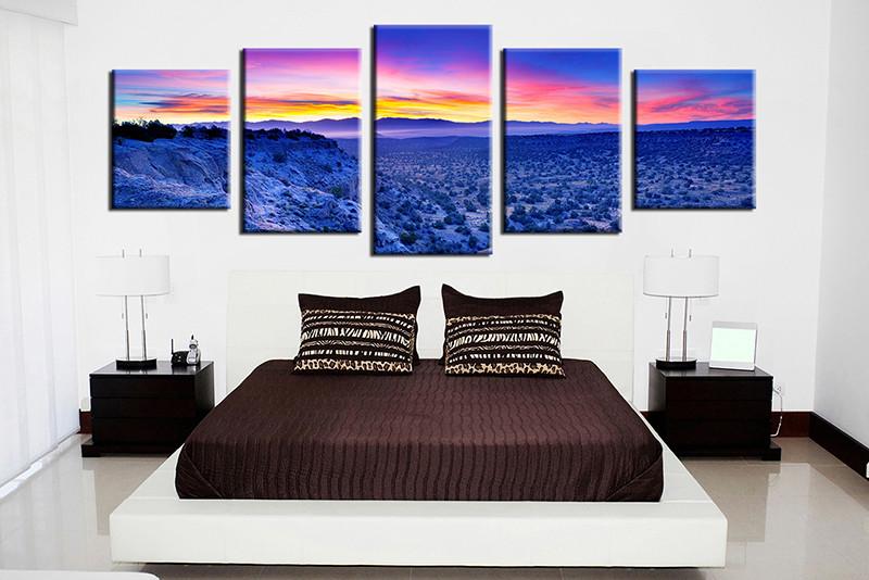 5 Piece Canvas Blue Canvas Photography Landscape Art