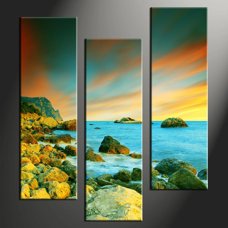 3 piece ocean canvas photography blue art for Buy canvas prints online