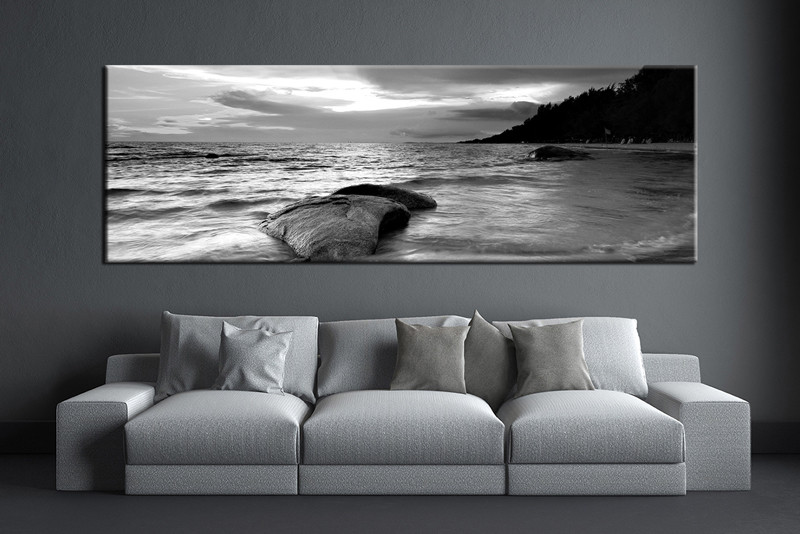 Living room art 1 piece canvas wall art black and white decor black