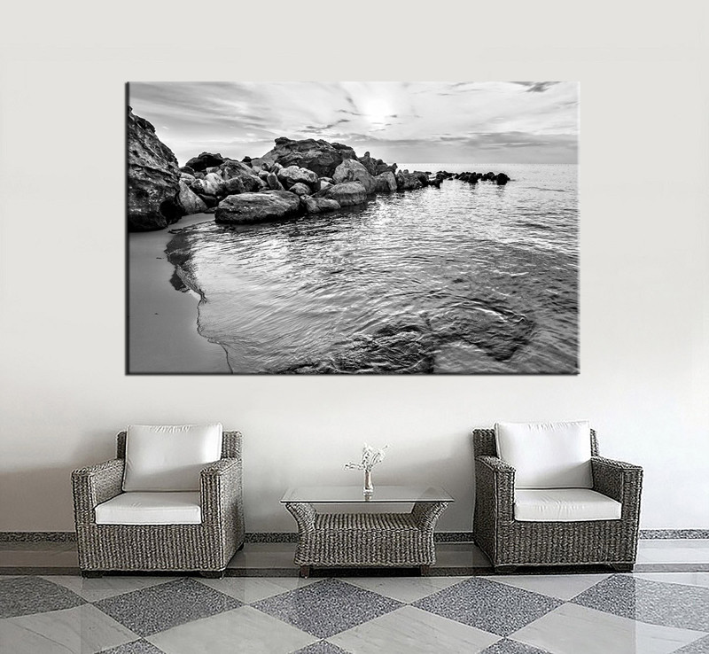1 Piece Black and White Canvas Landscape Huge Pictures