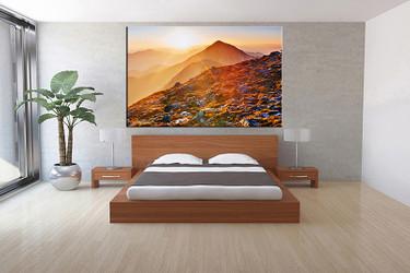 1 piece canvas wall art, bedroom art print, orange landscape large canvas, landscape multi panel canvas