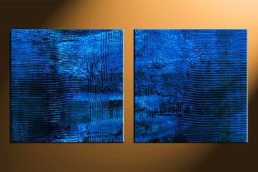 2 piece canvas photography, home decor art, blue abstract canvas wall art ,  oil