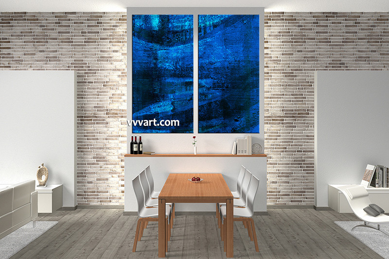 Large Abstract Wall Art 2 piece blue wall art abstract oil paintings artwork