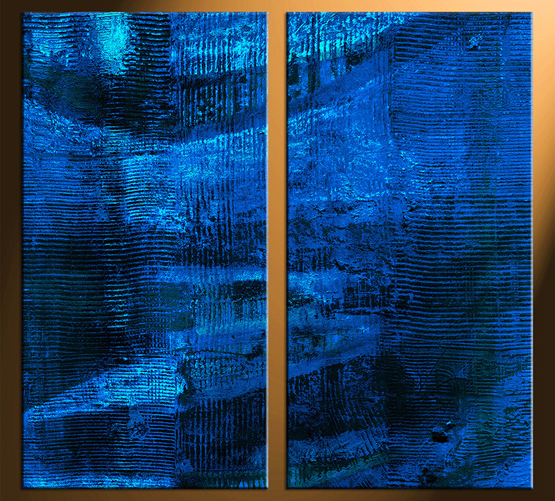 2 Piece Canvas Photography, Home Decor Art, Blue Abstract Huge Pictures,  Oil Paintings