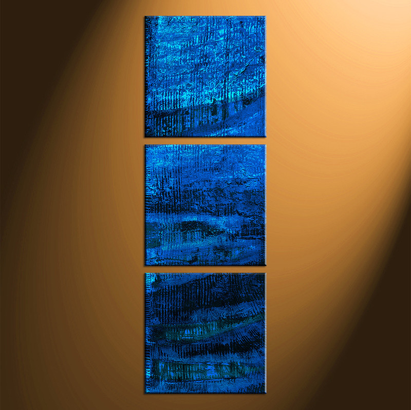 3 piece abstract blue oil paintings canvas photography for Vertical wall art