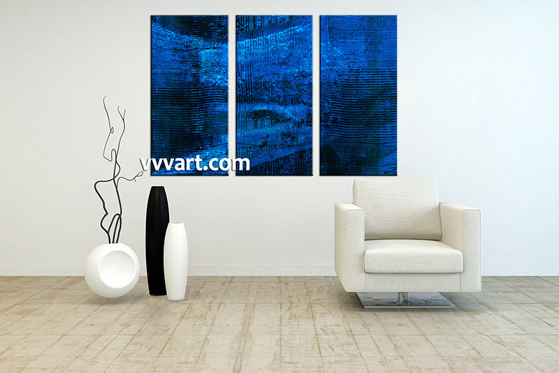 3 Piece Abstract Blue Pictures Oil Paintings Canvas Wall Art