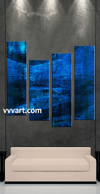 4 Piece Huge Pictures, Living Room Multi Panel Canvas, Blue Abstract Canvas  Wall Art Part 91