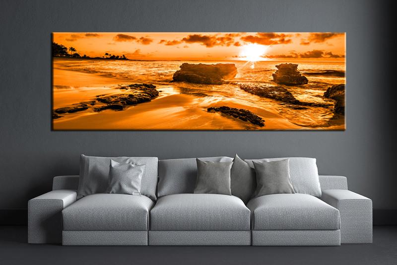 1 Piece Orange Ocean Canvas Wall Art