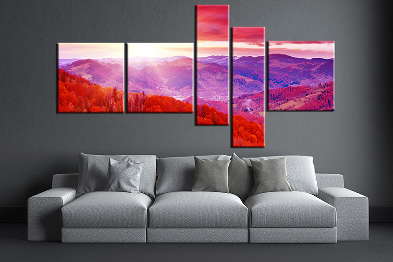 5 Piece Canvas Purple Wall Art Landscape Huge Pictures