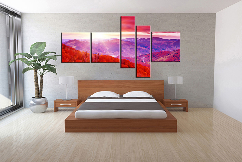 Bedroom Decor 5 Piece Canvas Wall Art Landscape Multi Panel Canvas Landscape Canvas