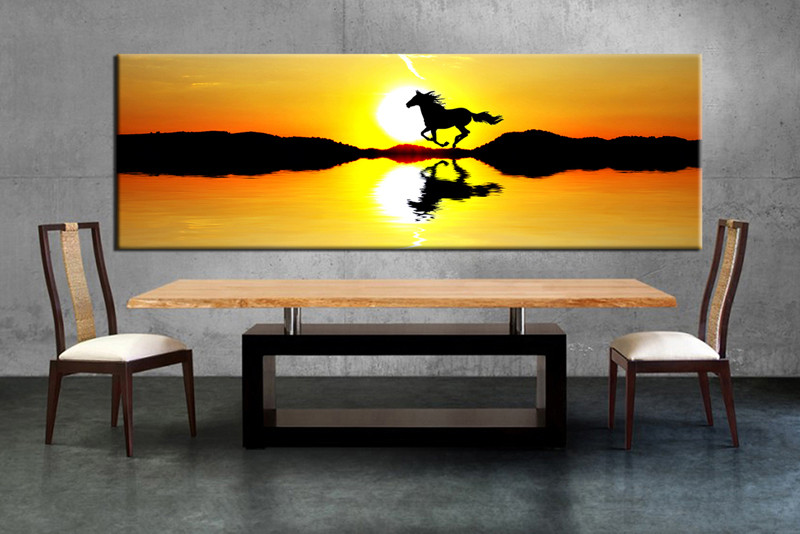 1 Piece Canvas Horse Yellow Sunrise Art